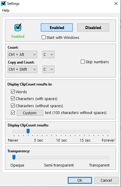 ClipCount 3D settings